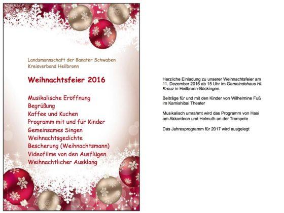 Weihnachtsgedichte Für Weihnachtsfeier.Einladung Zur Weihnachtsfeier Landsmannschaft Der Banater Schwaben